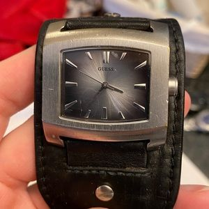 GUESS leather cuff watch